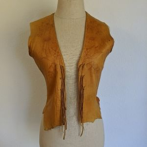 Vintage late 60 soft embossed leather fringe vest